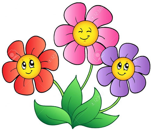 Under Construction - cartoon graphic of smiling flowers growing